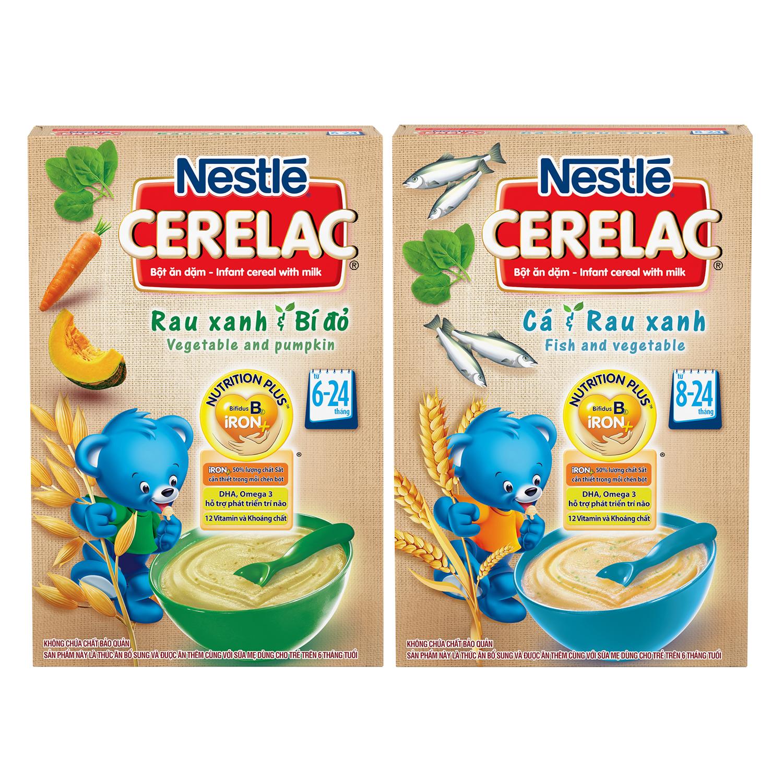 Combo Bột Ăn Dặm Nestlé Cerelac Rau Xanh Và Bí Đỏ + Cá Và Rau Xanh (200g)