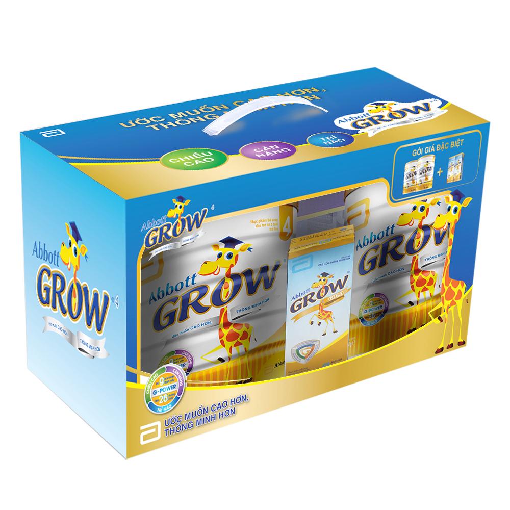 Hộp Quà Abbott: 2 Lon Sữa Bột Abbott Grow 4 (G-power) Hương Vani 900g + 2 Hộp Sữa Nước Abbott Grow Gold (180ml)