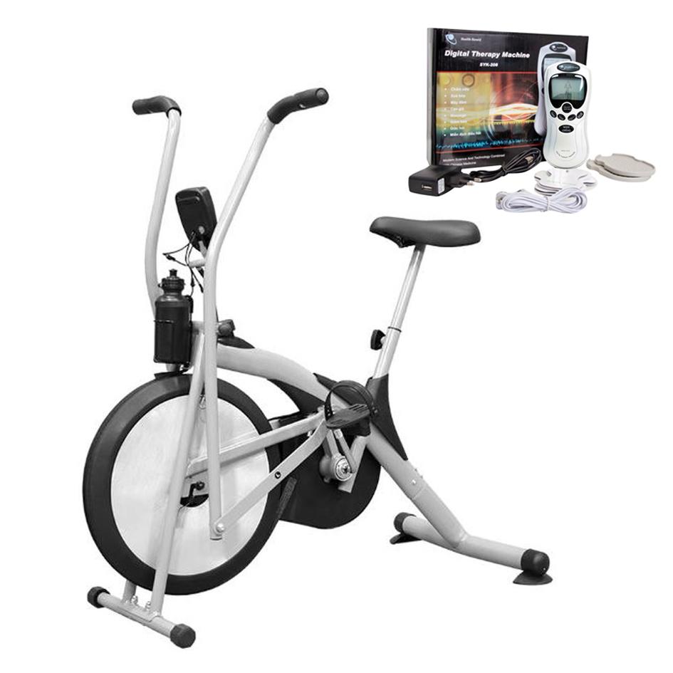 Bộ Xe Đạp Tập Thể Dục Air Bike + Máy Massage Xung Điện 8 Miếng Dán