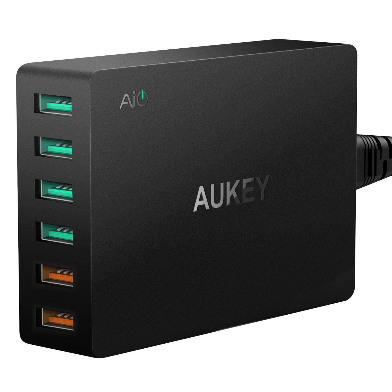 Củ sạc Aukey PA - T11 Quick chagre 3.0 6 Cổng (2 Cổng QC 3.0)