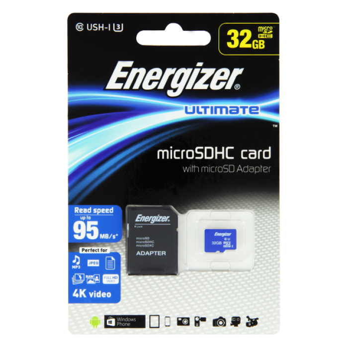 Thẻ Nhớ Micro SDHC Energizer 32GB Class 10 Up To 95mb/s + Adapter
