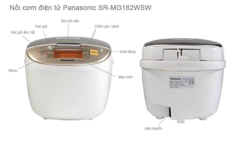 Mô tả cấu tạo của nồi cơm điện tử Panasonic SR-MS183WRA
